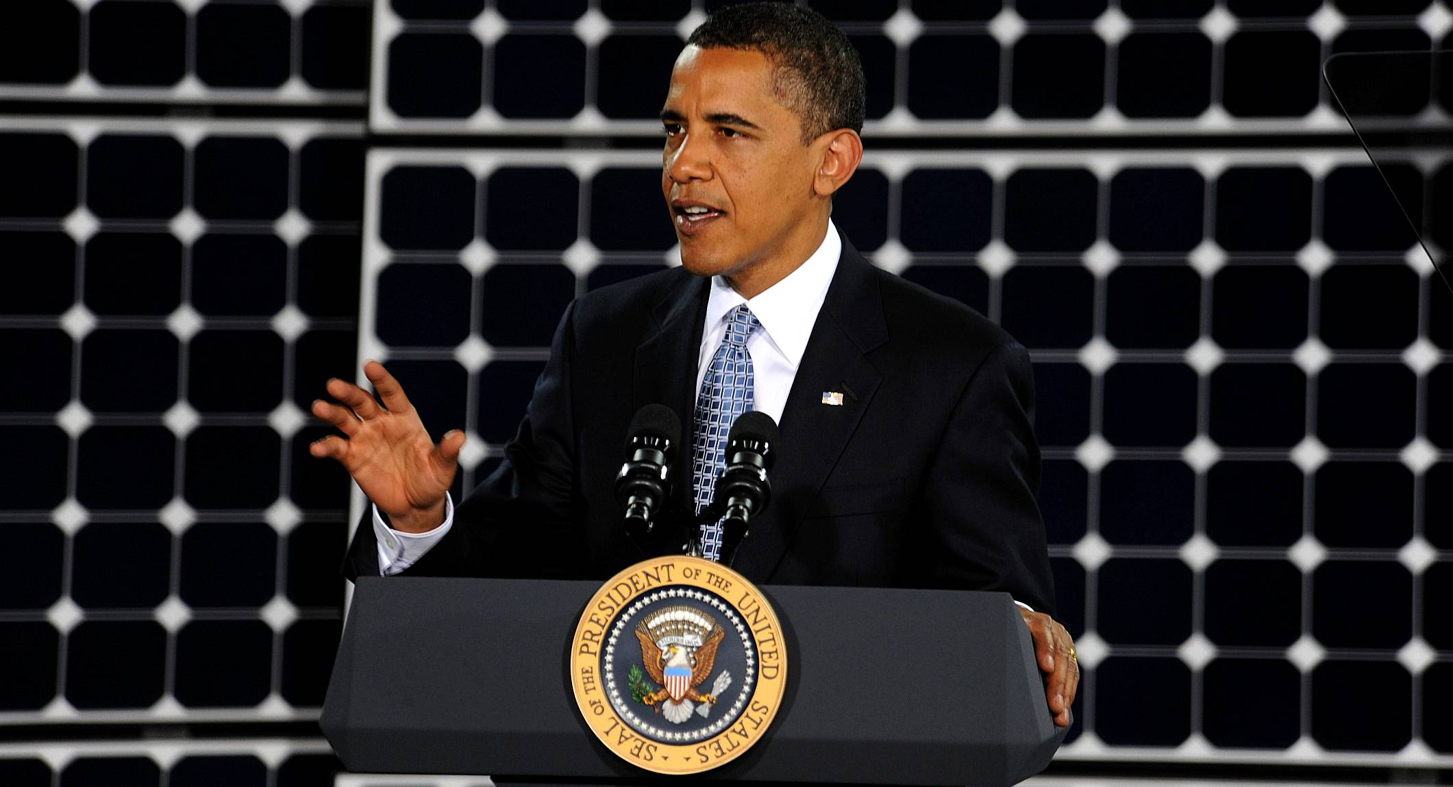 Barack Obama and solar panels at the Nellis air force base in Nevada