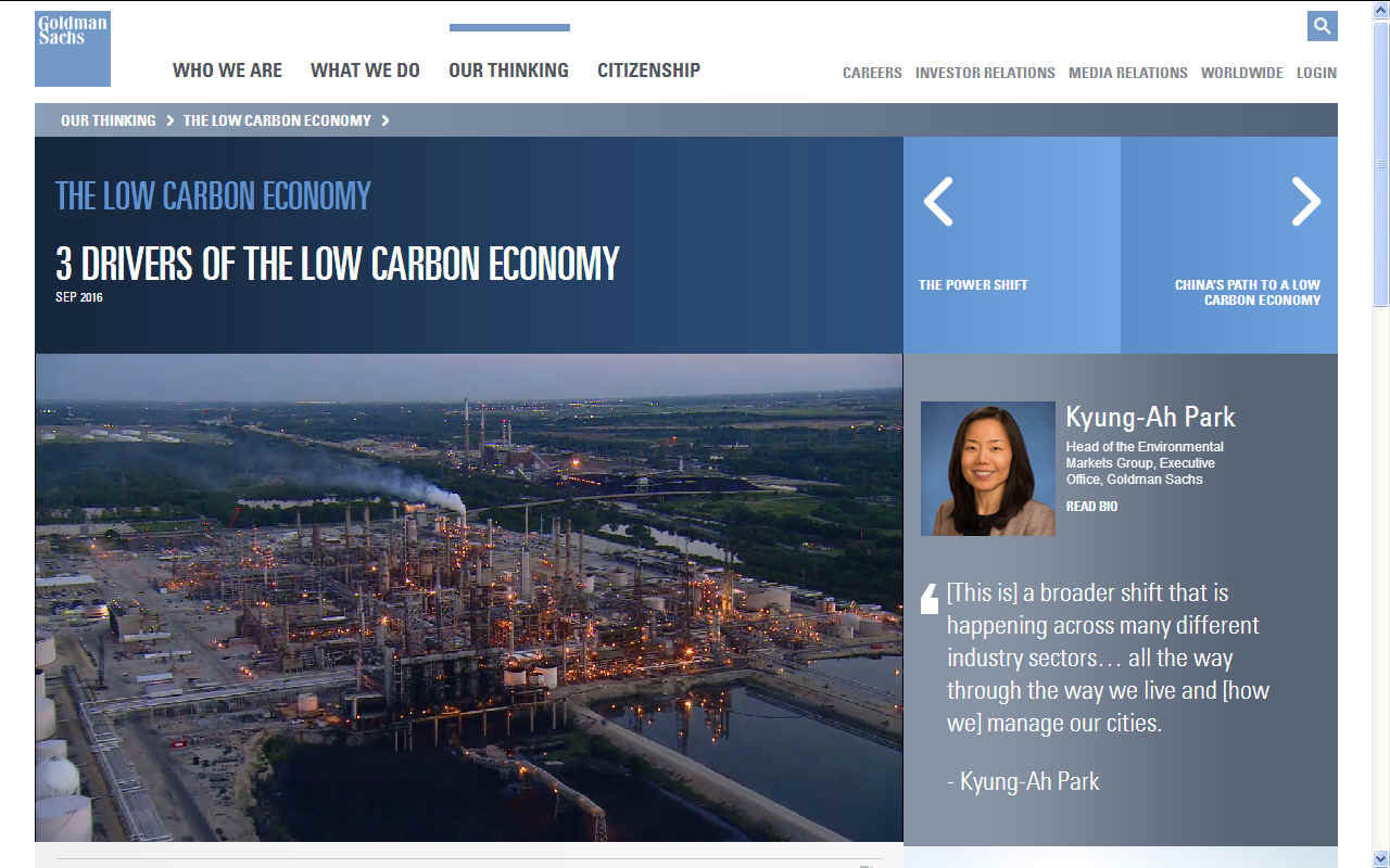 Golman Sachs on the drivers of a low carbon economy