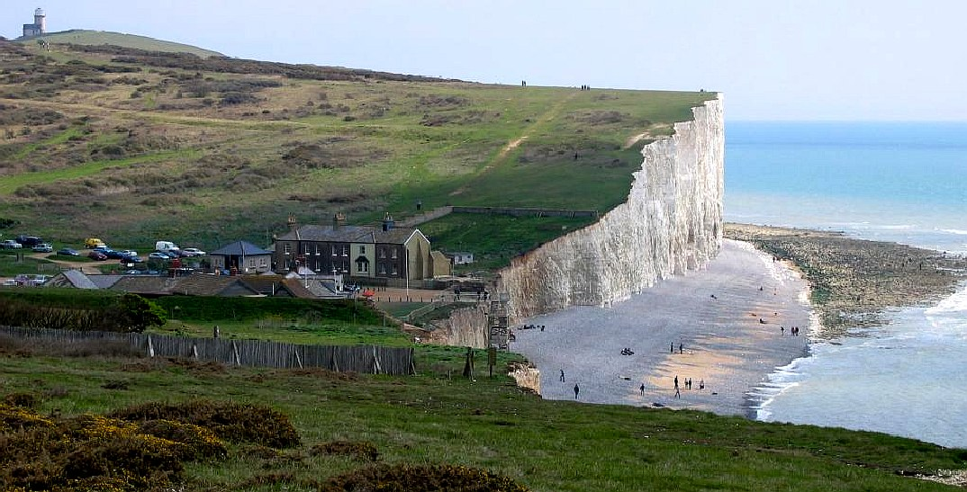 Birling Gap coastguard cottages and chalk cliffs