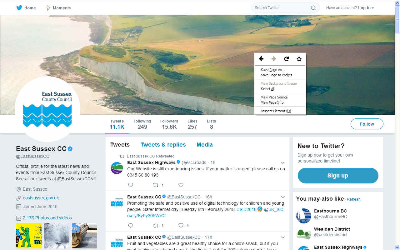 East Sussex County Council twitter homepage social media